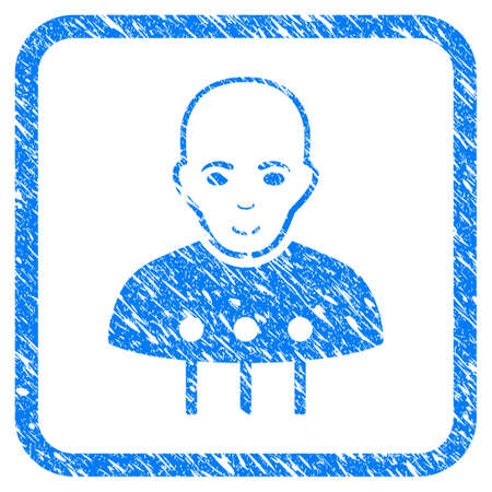 Cyborg Interface rubber seal stamp watermark. Icon vector symbol with grunge design and dust texture inside rounded rectangle. Scratched blue stamp imitation on a white background.