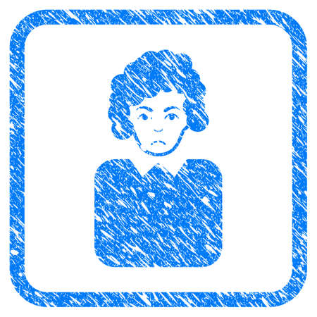Bureaucrat Lady rubber seal stamp watermark. Icon vector symbol with grunge design and unclean texture in rounded square. Scratched blue sign on a white background.