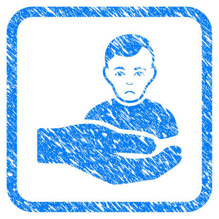 Customer Support Hand rubber seal stamp imitation. Icon vector symbol with grunge design and unclean texture in rounded rectangle. Scratched blue emblem on a white background.