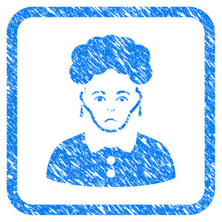 Brunette Woman rubber seal stamp watermark. Icon vector symbol with grunge design and unclean texture in rounded square frame. Scratched blue sign on a white background.