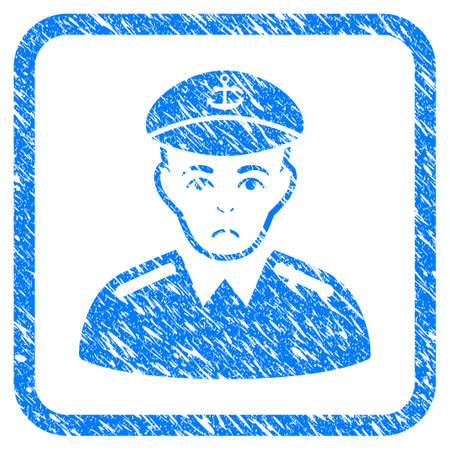 Captain rubber seal stamp watermark. Icon vector symbol with grunge design and dust texture in rounded squared frame. Scratched blue emblem on a white background.