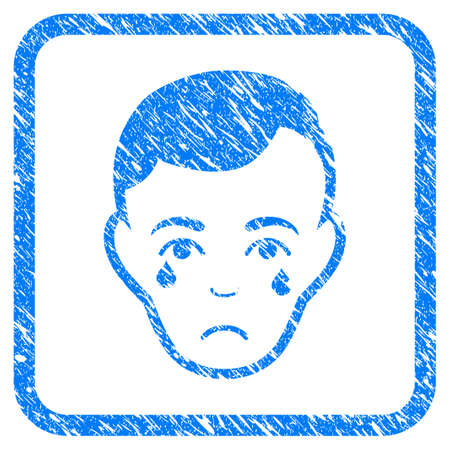 Crying Man Face rubber seal stamp imitation. Icon vector symbol with grunge design and unclean texture in rounded square frame. Scratched blue stamp imitation on a white background.