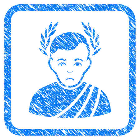 Caesar Wreath rubber seal stamp watermark. Icon vector symbol with grunge design and unclean texture inside rounded square frame. Scratched blue emblem on a white background.
