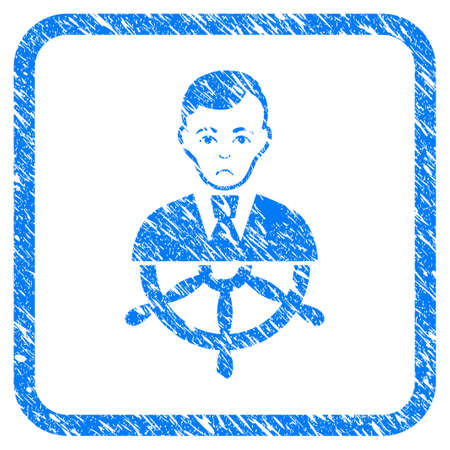 Captain rubber seal stamp imitation. Icon vector symbol with grunge design and dirty texture in rounded frame. Scratched blue emblem on a white background. Çizim