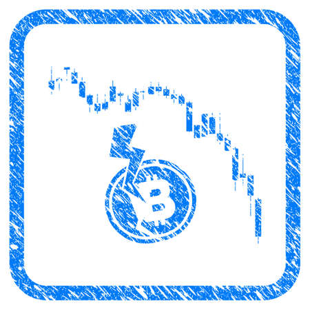 Candlestick Chart Bitcoin Crash rubber seal stamp imitation. Icon vector symbol with grunge design and corrosion texture inside rounded square. Scratched blue stamp imitation on a white background.