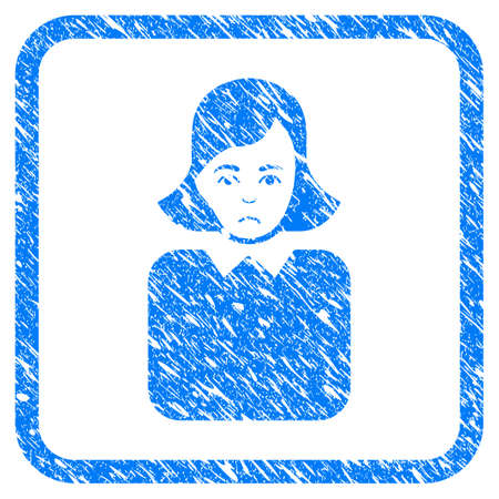 Bureaucrat Woman rubber seal stamp watermark. Icon vector symbol with grunge design and dirty texture inside rounded rectangle. Scratched blue emblem on a white background. Illustration