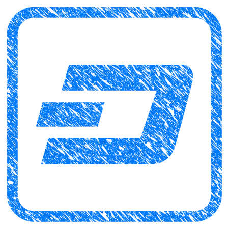 Dash Currency rubber seal stamp watermark. Icon vector symbol with grunge design and dirty texture in rounded squared frame. Scratched blue sticker on a white background. Illusztráció
