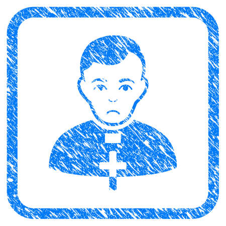 Catholic Priest rubber seal stamp watermark. Icon vector symbol with grunge design and unclean texture inside rounded square. Scratched blue stamp imitation on a white background.