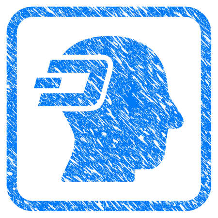 Dash Imagination rubber seal stamp imitation. Icon vector symbol with grunge design and dust texture in rounded square frame. Scratched blue emblem on a white background. Ilustração