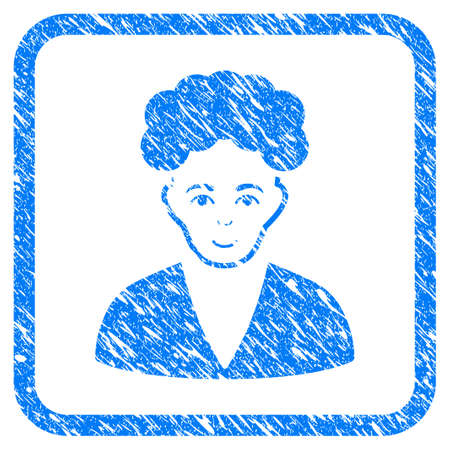 Brunette Boy rubber seal stamp imitation. Icon vector symbol with grunge design and dust texture inside rounded frame. Scratched blue stamp imitation on a white background. Vectores