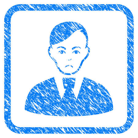 Clerk rubber seal stamp watermark. Icon vector symbol with grunge design and unclean texture inside rounded frame. Scratched blue emblem on a white background.