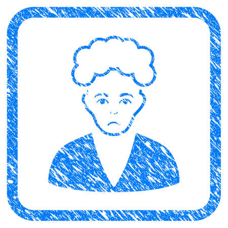 Blonde Boy rubber seal stamp imitation. Icon vector symbol with grunge design and unclean texture inside rounded squared frame. Scratched blue stamp imitation on a white background.