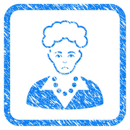 Blonde Lady rubber seal stamp watermark. Icon vector symbol with grunge design and corrosion texture in rounded square. Scratched blue emblem on a white background.