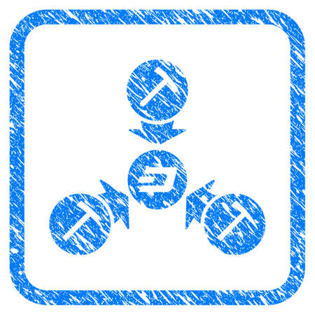 Dash Mining Pool rubber seal stamp watermark. Icon vector symbol with grunge design and corrosion texture in rounded frame. Scratched blue stamp imitation on a white background.