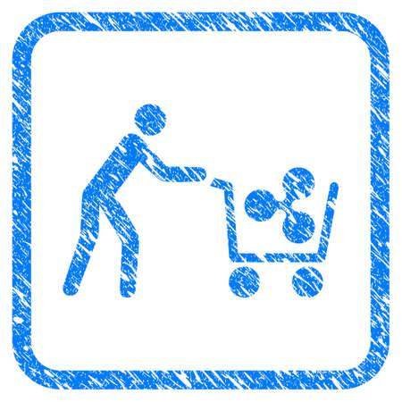 Customer Cart Ripple rubber seal stamp watermark. Icon vector symbol with grunge design and dirty texture in rounded squared frame. Scratched blue stamp imitation on a white background. Illustration