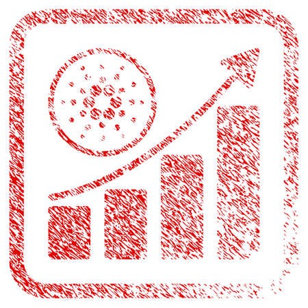 Cardano Growth Up Chart rubber seal stamp imitation. Icon vector symbol with grunge design and unclean texture in rounded rectangle. Scratched red stamp imitation. Illustration