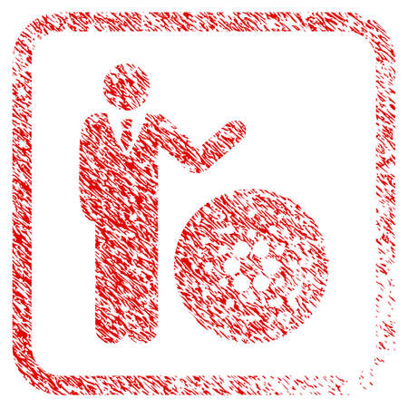 Businessman Show Cardano rubber seal stamp watermark. Icon vector symbol with grunge design and corrosion texture in rounded rectangle. Scratched red sign.
