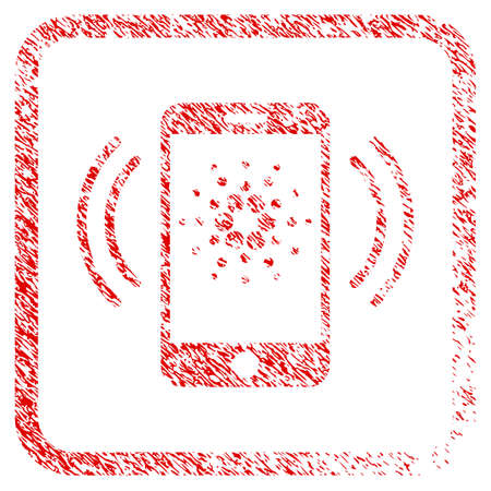 Cardano Mobile Banking rubber seal stamp imitation. Icon vector symbol with grunge design and dust texture in rounded square frame. Scratched red sign.
