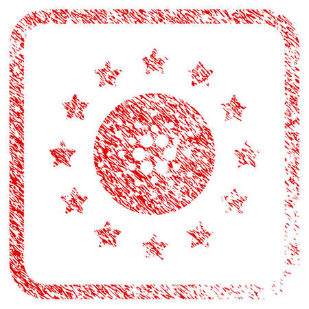 Starred Cardano rubber seal stamp watermark. Icon vector symbol with grunge design and corrosion texture inside rounded frame. Scratched red sticker.