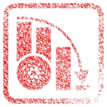 Cardano Down Chart rubber seal stamp imitation. Icon vector symbol with grunge design and dust texture in rounded frame. Scratched red stamp imitation.