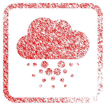 Cardano Cloud rubber seal stamp imitation. Icon vector symbol with grunge design and dirty texture inside rounded square frame. Scratched red sign.