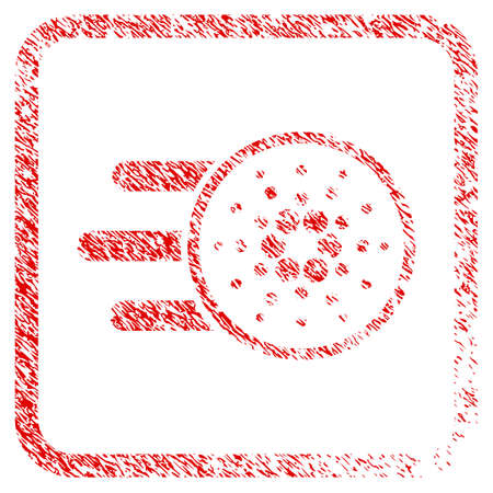 Cardano Delivery rubber seal stamp watermark. Icon vector symbol with grunge design and unclean texture inside rounded square frame. Scratched red stamp imitation.