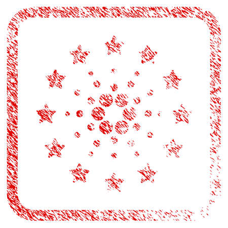 Starred Cardano rubber seal stamp watermark. Icon vector symbol with grunge design and corrosion texture inside rounded frame. Scratched red stamp imitation.