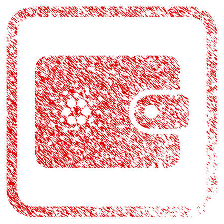 Cardano Wallet rubber seal stamp imitation. Icon vector symbol with grunge design and unclean texture in rounded rectangle. Scratched red stamp imitation.