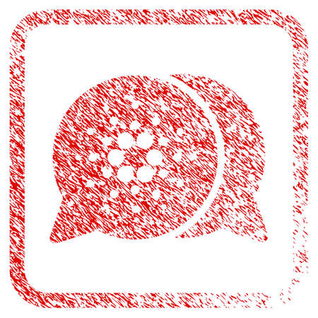 Cardano Chat rubber seal stamp watermark. Icon vector symbol with grunge design and corrosion texture in rounded rectangle. Scratched red stamp imitation. Illustration