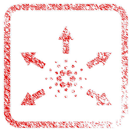 Cardano Spend Arrows rubber seal stamp watermark. Icon vector symbol with grunge design and unclean texture inside rounded square. Scratched red sticker. Illustration