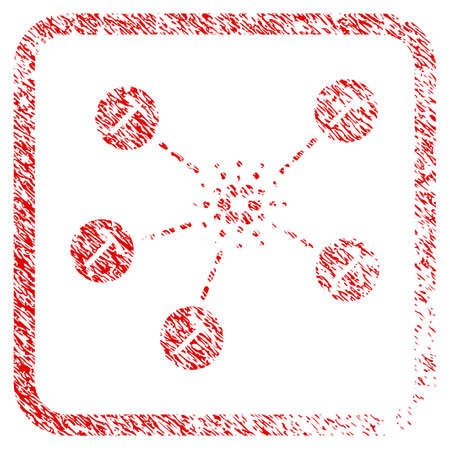 Cardano Mining Network rubber seal stamp imitation. Icon vector symbol with grunge design and unclean texture in rounded rectangle. Scratched red sticker. Illustration