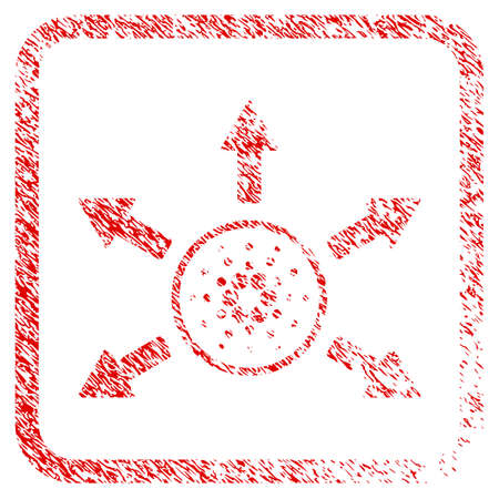 Cardano Distribution Arrows rubber seal stamp imitation. Icon vector symbol with grunge design and dirty texture in rounded squared frame. Scratched red emblem. Illustration