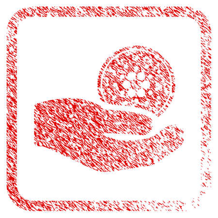 Cardano Coin Offer Hand rubber seal stamp imitation. Icon vector symbol with grunge design and unclean texture inside rounded square. Scratched red stamp imitation. Illustration