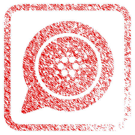 Cardano Message Balloon rubber seal stamp imitation. Icon vector symbol with grunge design and dirty texture inside rounded rectangle. Scratched red sign.