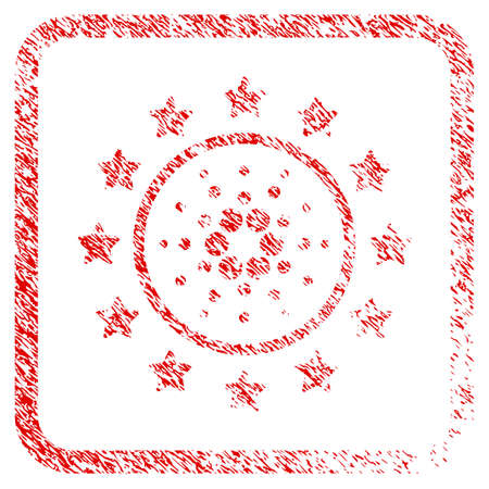 Starred Cardano rubber seal stamp imitation. Icon vector symbol with grunge design and corrosion texture inside rounded frame. Scratched red sticker. Illustration