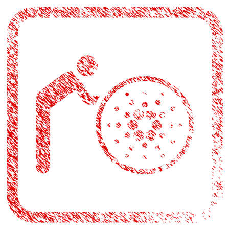 Person Rolling Cardano rubber seal stamp watermark. Icon vector symbol with grunge design and unclean texture in rounded square frame. Scratched red sign.