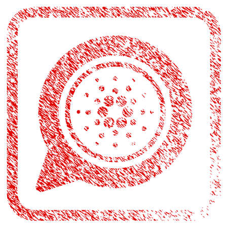 Cardano Message Balloon rubber seal stamp watermark. Icon vector symbol with grunge design and corrosion texture inside rounded squared frame. Scratched red stamp imitation. Illustration