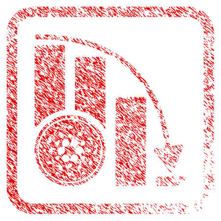 Cardano Coin Down Chart rubber seal stamp imitation. Icon vector symbol with grunge design and dust texture in rounded square. Scratched red stamp imitation.  イラスト・ベクター素材