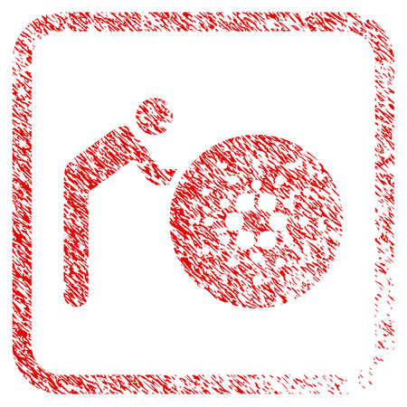 Person Rolling Cardano rubber seal stamp watermark. Icon vector symbol with grunge design and corrosion texture in rounded frame. Scratched red sign.