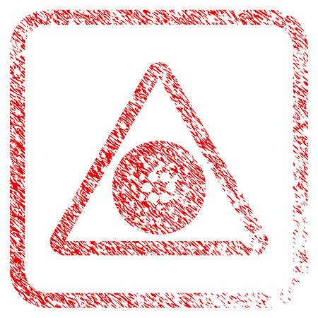 Cardano Danger rubber seal stamp imitation. Icon vector symbol with grunge design and corrosion texture inside rounded frame. Scratched red sign. Illustration