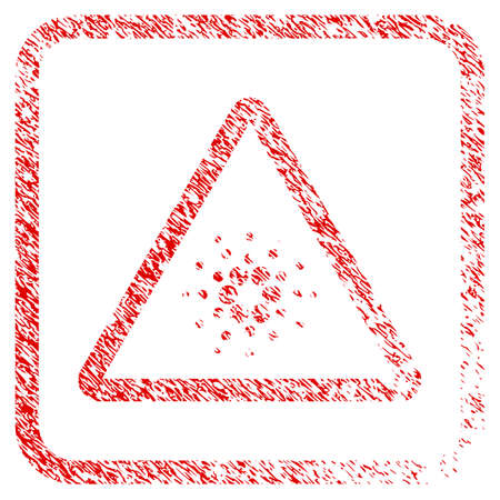 Cardano Danger rubber seal stamp imitation. Icon vector symbol with grunge design and corrosion texture in rounded squared frame. Scratched red sign. Illustration