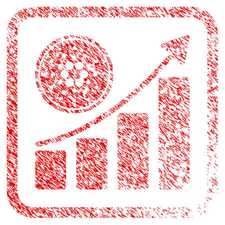 Cardano Growing Chart rubber seal stamp watermark. Icon vector symbol with grunge design and corrosion texture inside rounded square. Scratched red sign. Illustration