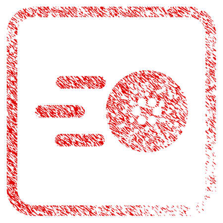 Send Cardano rubber seal stamp watermark. Icon vector symbol with grunge design and corrosion texture in rounded square frame. Scratched red emblem.