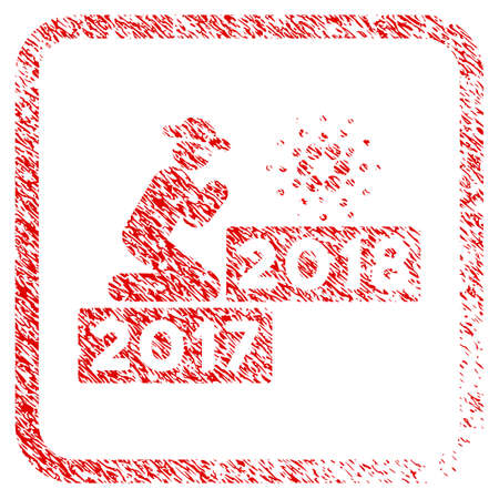 Person Pray Cardano 2018 rubber seal stamp imitation. Icon vector symbol with grunge design and corrosion texture in rounded frame. Scratched red sticker. Illustration