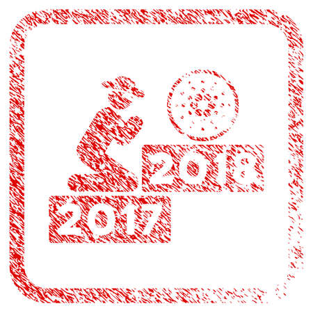 Person Pray Cardano 2018 rubber seal stamp watermark. Icon vector symbol with grunge design and unclean texture inside rounded square frame. Scratched red emblem.
