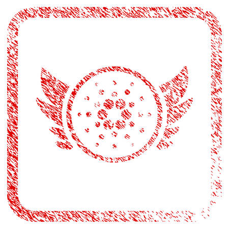 Cardano Angel Investment rubber seal stamp watermark. Icon vector symbol with grunge design and dirty texture inside rounded square. Scratched red stamp imitation.