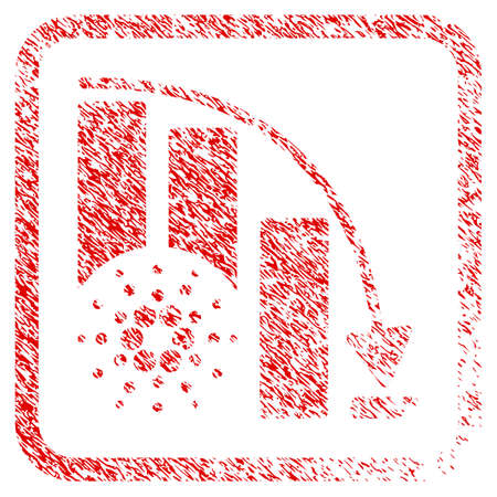 Cardano Epic Fail Chart rubber seal stamp imitation. Icon vector symbol with grunge design and corrosion texture in rounded square frame. Scratched red sign. Illustration