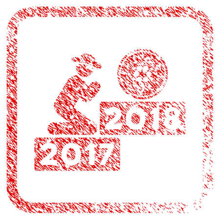 Person Pray Cardano 2018 rubber seal stamp watermark. Icon vector symbol with grunge design and dirty texture in rounded square. Scratched red stamp imitation. Illustration