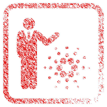 Businessman Show Cardano rubber seal stamp imitation. Icon vector symbol with grunge design and unclean texture in rounded rectangle. Scratched red sticker.