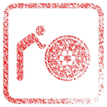 Person Rolling Cardano Coin rubber seal stamp watermark. Icon vector symbol with grunge design and unclean texture in rounded frame. Scratched red emblem. Illustration